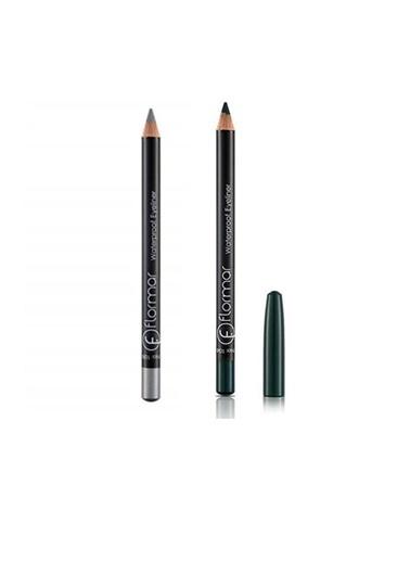 Flormar Flormar Waterproof Gri Eyeliner No:108+Koyu Yeşil Eyeliner No:104 Renkli